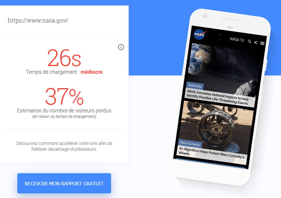 Exemple de d'un test mobile avec Test My Site With Google