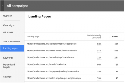 Interface page de destination Google Adwords