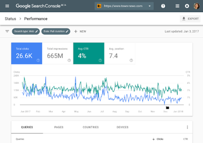 Capture d'écran de la nouvelle Search Console