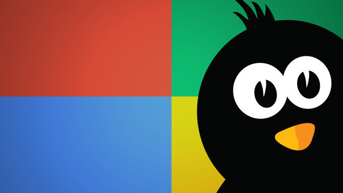 Illustration d'un pingouin sur un fond aux couleurs de windows