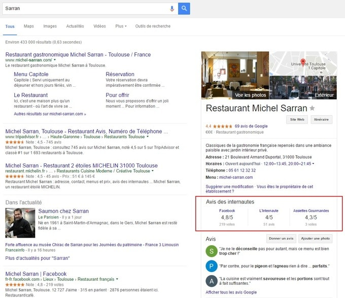 Affichage de notation dans la page Google My Business d'un restaurant