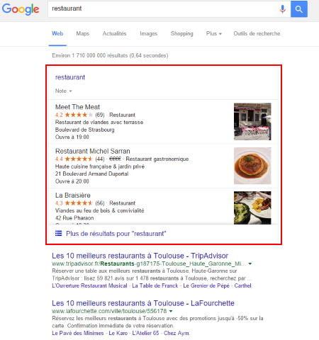 de 7 à seulement 3 propositions issues de pages Google My Business