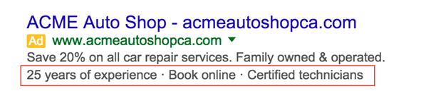 Exemple d'extension d'accroche dynamique AdWords